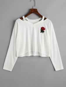 Cold Shoulder Rose Embroidered Patches Sweatshirt