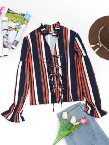 Plunging Neck Tied Front Striped Blouse
