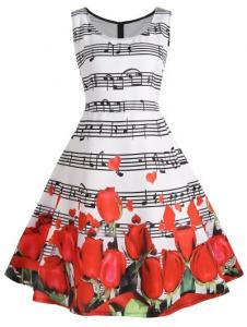 Rose Musical Notes Print Plus Size Flare Dress