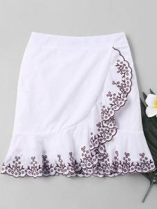 Plant Embroidered Trim Fishtail Skirt