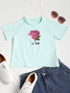 Rose Embroidered Crop Raglan Tee