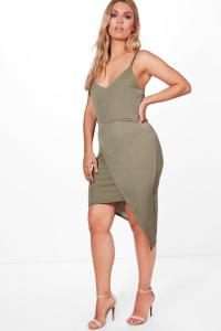 Plus Lauren Wrap Front Strappy Midi Dress