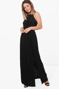 Petite Amy Halterneck Split Leg Slinky Maxi Dress