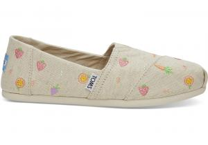 TOMS Farmers Market Embroidered Women Classics Slip-On Shoes - S