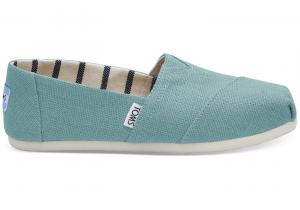 TOMS Marine Blue Heritage Canvas Women Classics Slip-On Shoes -