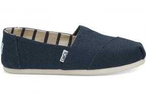 TOMS Majolica Blue Heritage Canvas Women Classics Slip-On Shoes