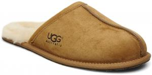 UGG Men Scuff Leather Sheepskin Slippers - Chestnut UK 11