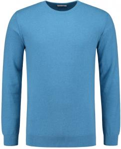 Knowledge Cotton Apparel Basic O-Neck Pullover In Deep Water - 8