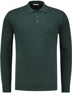 Knowledge Cotton Apparel Long Sleeve Polo Knit Green Gables - 80