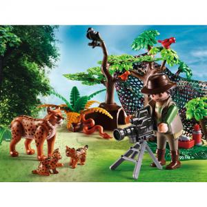 Playmobil Wild Life Lynx Family With Cameraman 5561