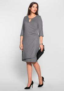 NU 15% KORTING: Sheego Class Jerseyjurk In Wikkel-look