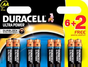 Duracell Ultra Power Batterijen - AA 6 + 2 Gratis