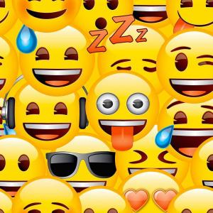 Emoji Yellow - Behang Rol 10 Meter / 53 Cm Breed Geel