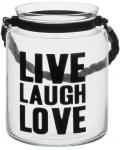 Windlicht Live/laugh/love Glas Transparant 14x14x16cm