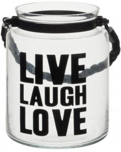 Windlicht Live/laugh/love Glas Transparant 14x14x16cm (5415203458445)