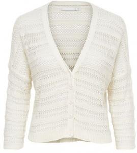 ONLY 3/4 Mouw Gebreid Vest Dames White