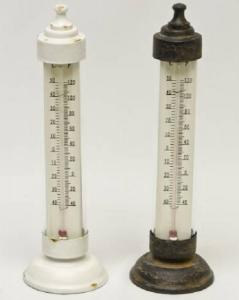 Thermometer Staand Rond Rusty/wit 2 Ass