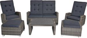 Wicker Loungeset Soho Antraciet 6-delig