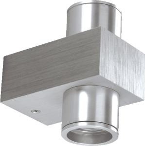 KlemKo LED Up Downlighter 2x1W Aluminium Geborsteld Warm Wit 865
