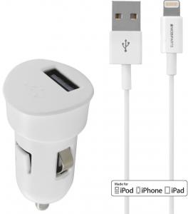 Mobiparts Premium USB Car Charger 1A + Lightning Cable White