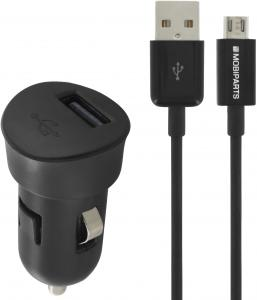 Mobiparts Premium USB Car Charger 1A + Micro Cable Black
