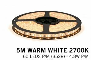 Warm Wit LED Strip 60 P.m. Type 3528 - 5M 12V 48W P.m