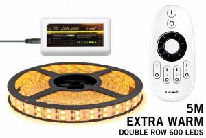 LED Strip Set Extra Warm Wit Met Dubbele Rij 600 Leds RF Remote