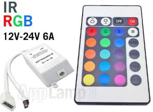 RGB LED-strip Controller Met IR 24 KEY Afstandsbediening 12V 6A