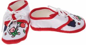 Junior Joy Babyschoenen Newborn Junior Wit/rood Met Beertje