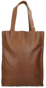 Myomy Paper Bag Long Handles Zip Reddish Brown