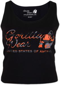 Gorilla Wear Oakland Crop Tank Black/Neon Orange Camo - M/L