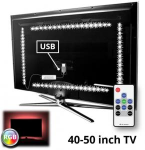 TV Led Strip Set Met 4 RGB Strips Voor Van 40 Tot 50 Inch