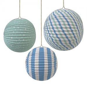 Meri Papieren Decoratie Globes Set Van 3 - Blue And Green